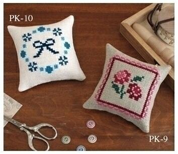 Embroidery Kit designed by Saori Obata. Olympusクロスステッチ刺繍キット 小幡小織のかわいいクロスステッチ・ピンクッション