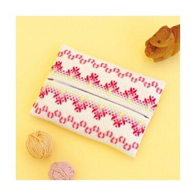 Olympusスウェーデン刺しゅうキット SW-11「ティッシュケース(赤)」 Swedish Embroidery