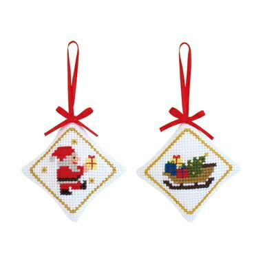 Olympusクロス刺繍キットX-90「サンタ&ソリ」(2個1組) ピンクッションにもなります