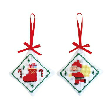 クリスマスオーナメント Olympusクロス刺繍キットX-93 「サンタ&ブーツ」(2個1組) ピンクッションにもなります