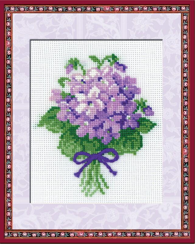 RIOLISクロスステッチ刺繍キット No.240 「The Violets」 (すみれ スミレ 菫) ロシアの刺しゅうメーカー「リオリス」製ししゅうキット