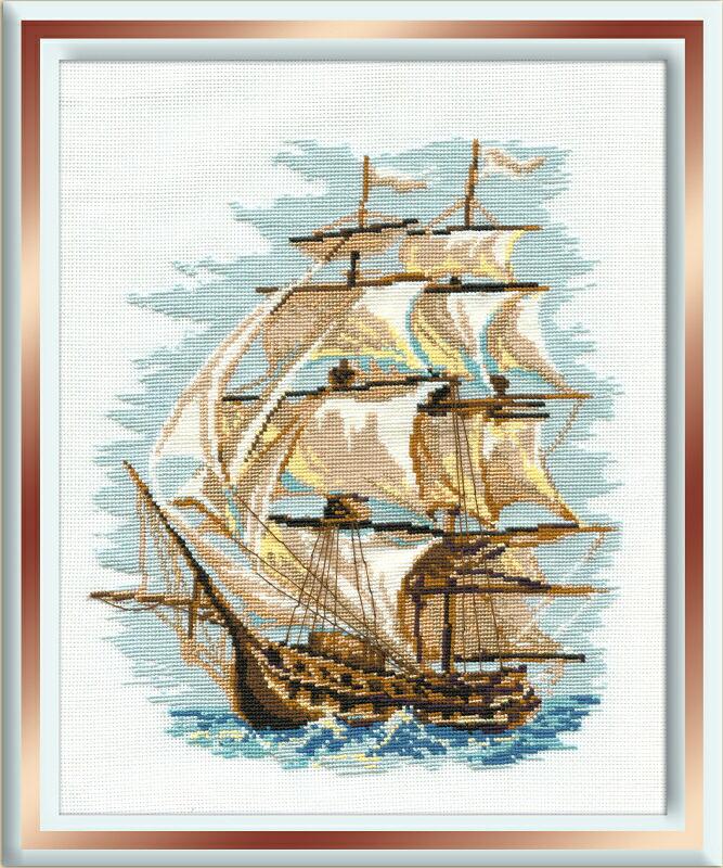 RIOLISクロスステッチ刺繍キット No.479 「The Ship」 (船) ロシアの刺しゅうメーカー「リオリス」