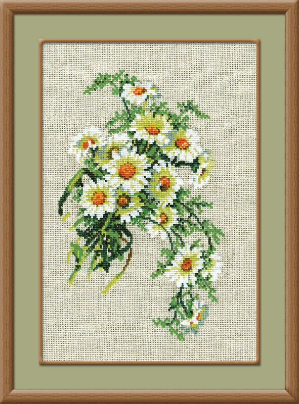 RIOLISクロスステッチ刺繍キット No.582 「The Bunch of Camomiles」 (カモミールの花束) ロシアの刺しゅうメーカー「リオリス」製ししゅうキット