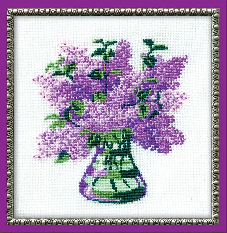 RIOLISクロスステッチ刺繍キット No.603 「The Bunch of Lilac」 (ライラックの花束) ロシアの刺しゅうメーカー「リオリス」製