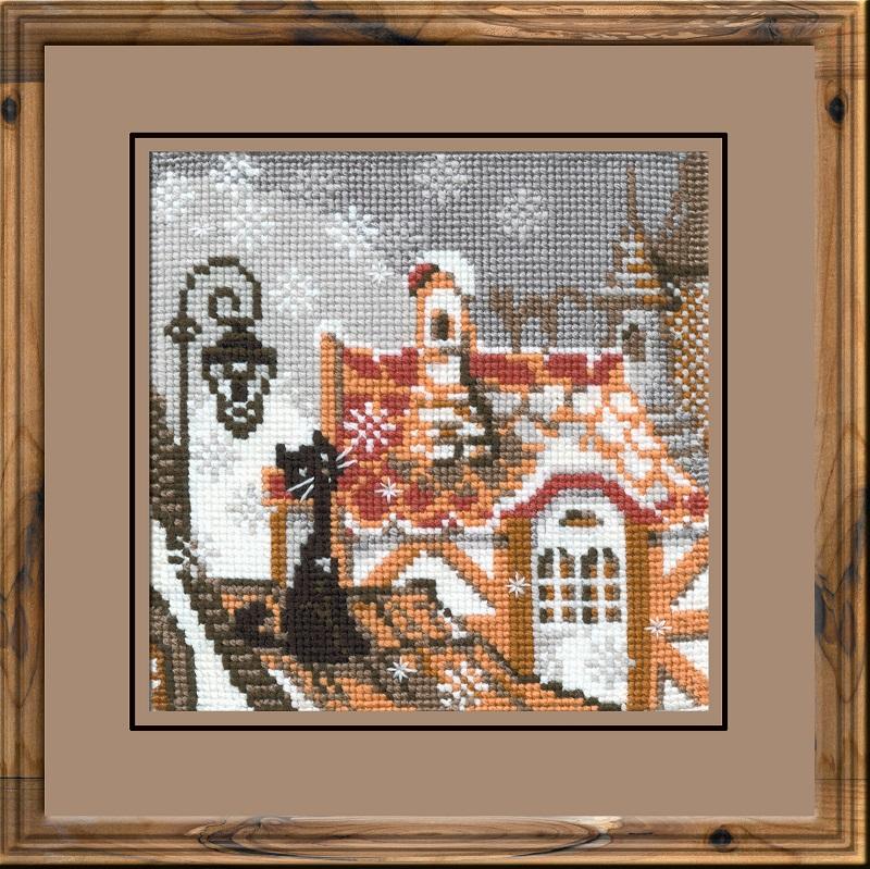 RIOLISクロスステッチ刺繍キット No.610 「The City and Cats. Winter」 (街の猫 冬 ネコ) ロシアの刺しゅうメーカー「リオリス」製ししゅうキット