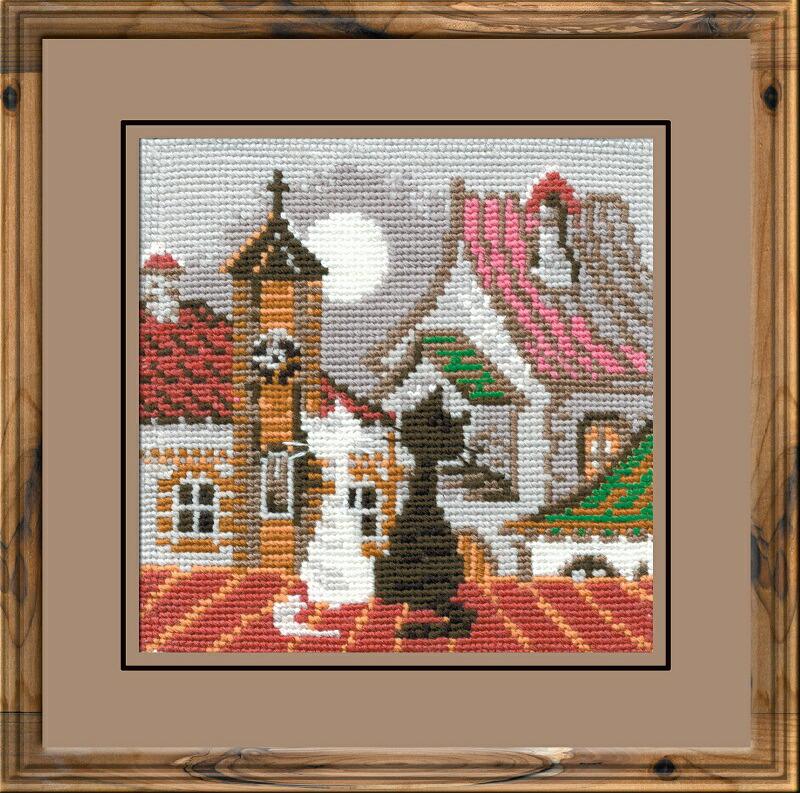 RIOLISクロスステッチ刺繍キット No.611 「The City and Cats. Spring」 (街の猫 春 ネコ) ロシアの刺しゅうメーカー「リオリス」製ししゅうキット