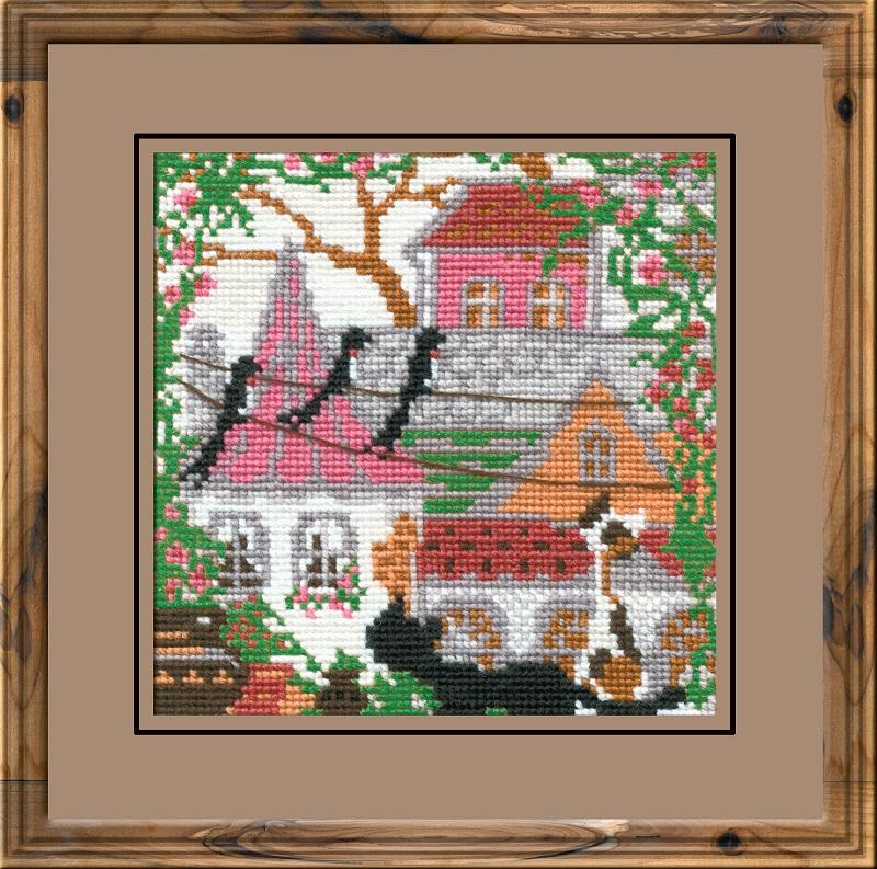 RIOLISクロスステッチ刺繍キット No.612 「The City and Cats. Summer」 (街の猫 夏 ネコ) ロシアの刺しゅうメーカー「リオリス」製ししゅうキット