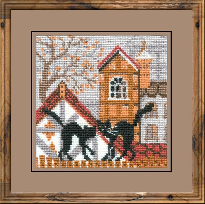 RIOLISクロスステッチ刺繍キット No.613 「The City and Cats. Autumn」 (街の猫 秋 ネコ) ロシアの刺しゅうメーカー「リオリス」製ししゅうキット