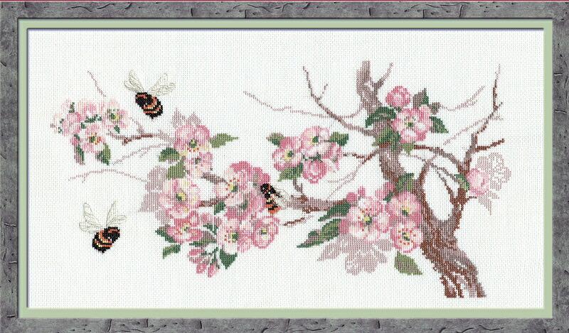RIOLISクロスステッチ刺繍キット No.635 「The Breath of Spring」 (春の息吹) ロシアの刺しゅうメーカー「リオリス」製ししゅうキット