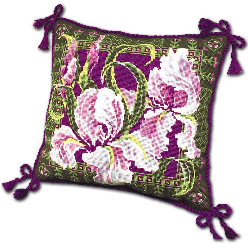 RIOLISクロスステッチ刺繍キット No.657 「The Irises」 Cushion (アイリス クッション40cm角) ロシアの刺しゅうメーカー「リオリス」製ししゅうキット