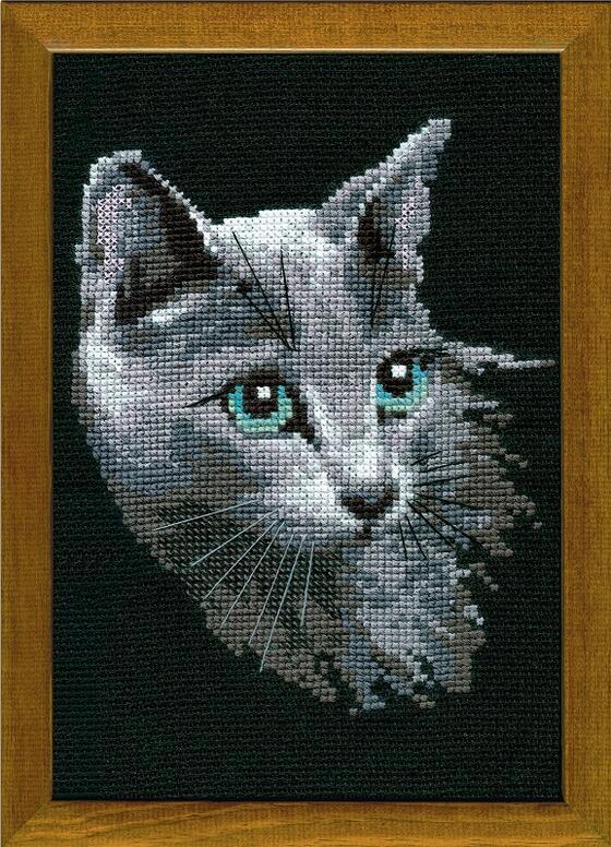 RIOLISクロスステッチ刺繍キット No.764 「The Russian Blue」 (ロシアンブルー ネコ 猫) ロシアの刺しゅうメーカー「リオリス」製