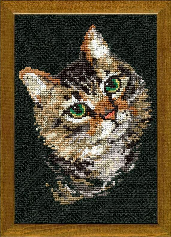 RIOLISクロスステッチ刺繍キット No.766 「The Grey Cat」 (ネコ 猫) ロシアの刺しゅうメーカー「リオリス」製ししゅうキット
