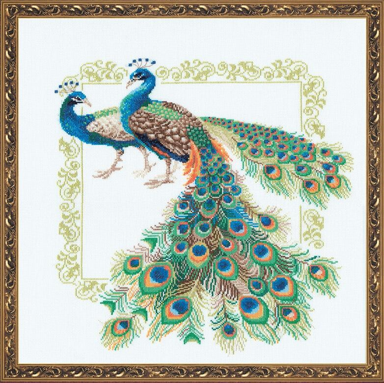 RIOLISクロスステッチ刺繍キット No.767 「Peacocks」 (孔雀 クジャク) ロシアの刺しゅうメーカー「リオリス」製ししゅうキット