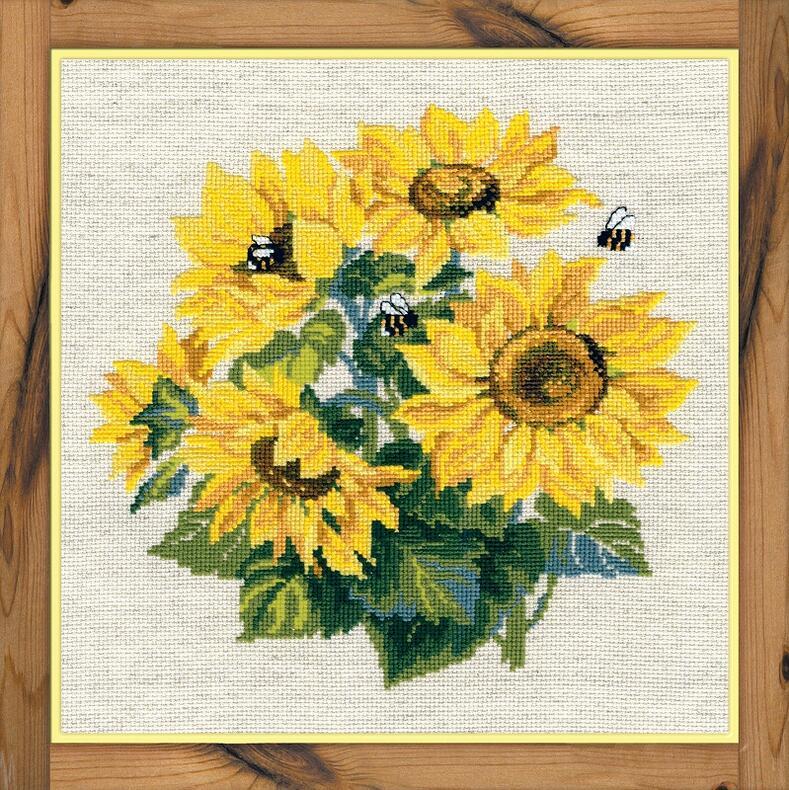 RIOLISクロスステッチ刺繍キット No.776 「The Sunflower」 (ヒマワリ) ロシアの刺しゅうメーカー「リオリス」製ししゅうキット