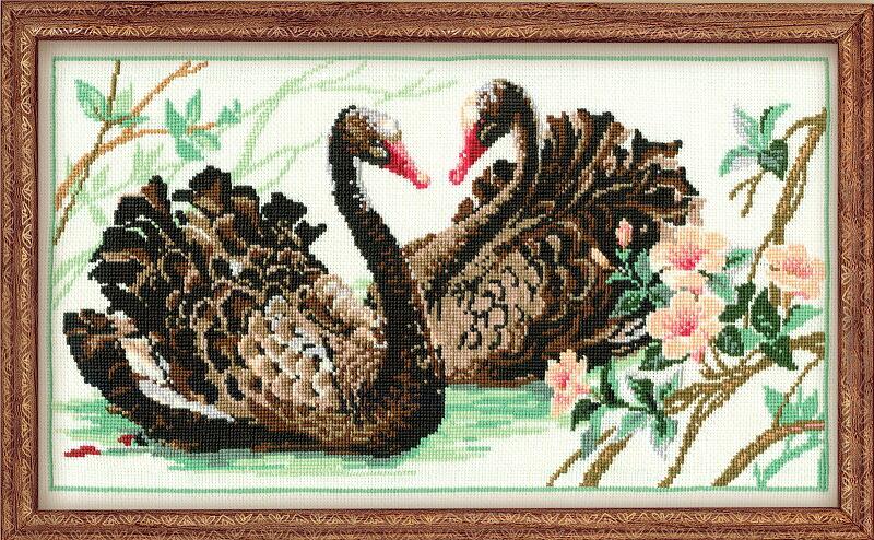 RIOLISクロスステッチ刺繍キット No.806 「The Black Swans」 (黒鳥) ロシアの刺しゅうメーカー「リオリス」製ししゅうキット
