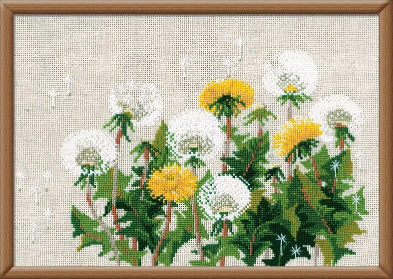 RIOLISクロスステッチ刺繍キット No.807 「The Dandelions」 (タンポポ 蒲公英 たんぽぽ) ロシアの刺しゅうメーカー「リオリス」製ししゅうキット