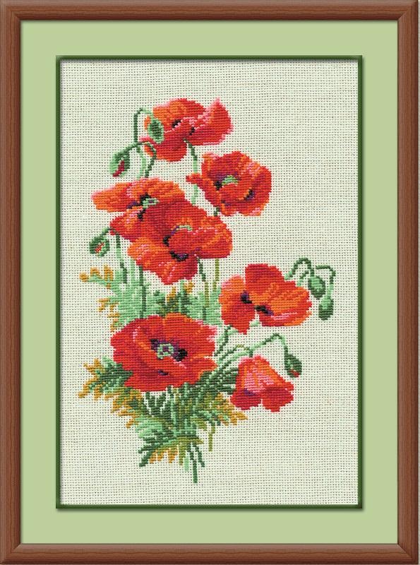 RIOLISクロスステッチ刺繍キット No.808 「The Wild Poppies」 (ポピー) ロシアの刺しゅうメーカー「リオリス」製ししゅうキット