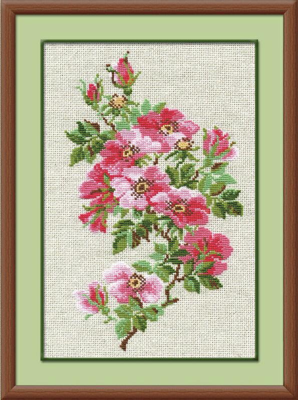 RIOLISクロスステッチ刺繍キット No.809 「The May Wild Roses」 (5月の野バラ 薔薇) ロシアの刺しゅうメーカー「リオリス」製ししゅうキット
