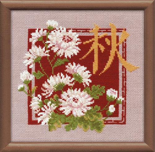 RIOLISクロスステッチ刺繍キット No.813 「Autumn」 (秋) ロシアの刺しゅうメーカー「リオリス」製ししゅうキット