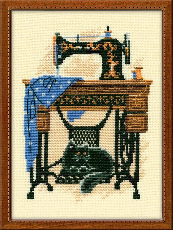 RIOLISクロスステッチ刺繍キット No.857 「The Sewing Machine」 (ミシンと猫 ネコ) ロシアの刺しゅうメーカー「リオリス」製ししゅうキット