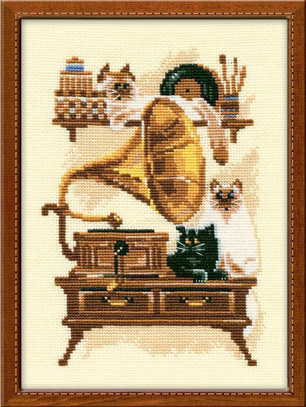 RIOLISクロスステッチ刺繍キット No.859 「The Gramaphone」 (蓄音機と猫 ネコ) ロシアの刺しゅうメーカー「リオリス」製ししゅうキット