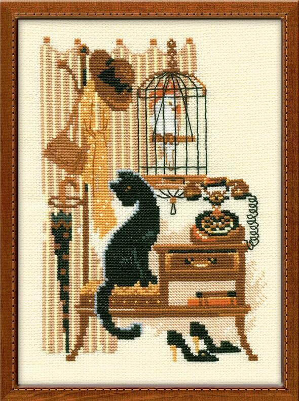 RIOLISクロスステッチ刺繍キット No.860 「The Telephone」 (電話機と猫 ネコ) ロシアの刺しゅうメーカー「リオリス」製ししゅうキット