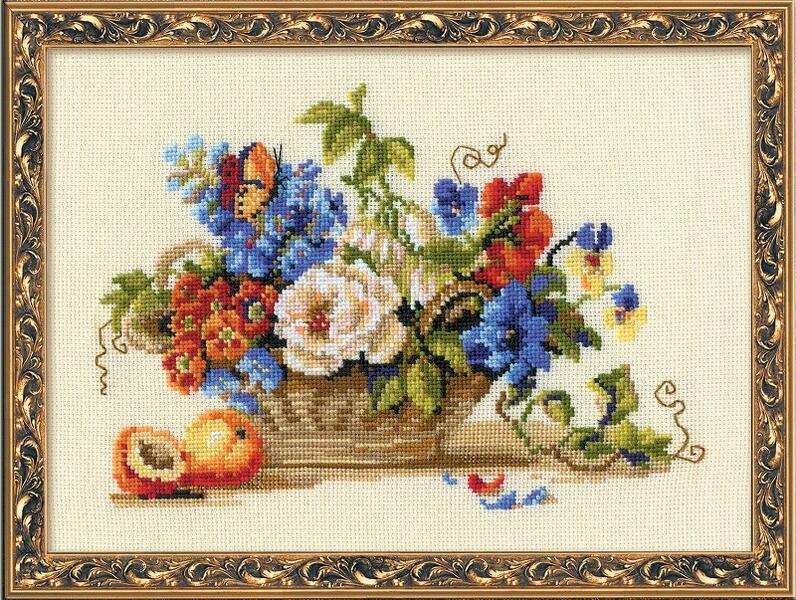 RIOLISクロスステッチ刺繍キット No.864 「The Still life with a Peach」 (桃のある静物画) ロシアの刺しゅうメーカー「リオリス」製ししゅうキット