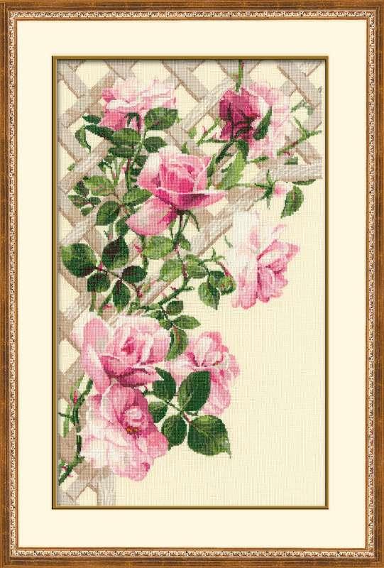 RIOLISクロスステッチ刺繍キット No.898 「The Pink Roses」 (ピンクのバラ 薔薇) ロシアの刺しゅうメーカー「リオリス」製ししゅうキット