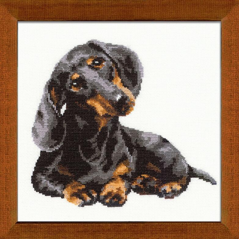 RIOLISクロスステッチ刺繍キット No.906 「The Badger-dog」 (ダックスフント 犬) ロシアの刺しゅうメーカー「リオリス」製ししゅうキット