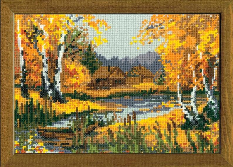 RIOLISクロスステッチ刺繍キット No.920 「The Autumn Charme」 (秋の池) ロシアの刺しゅうメーカー「リオリス」製ししゅうキット