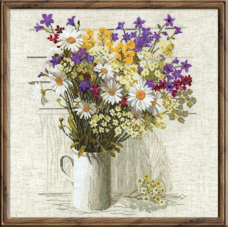 RIOLISクロスステッチ刺繍キット No.924 「The Wild Flowers」 (野の花) ロシアの刺しゅうメーカー「リオリス」製ししゅうキット