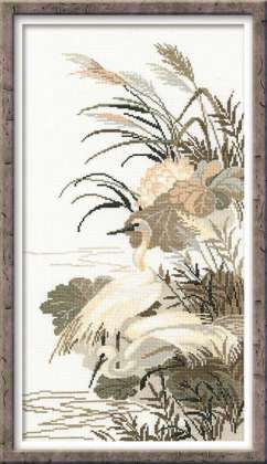 RIOLISクロスステッチ刺繍キット No.928 「The Herons」 (鷺 サギ) ロシアの刺しゅうメーカー「リオリス」製ししゅうキット
