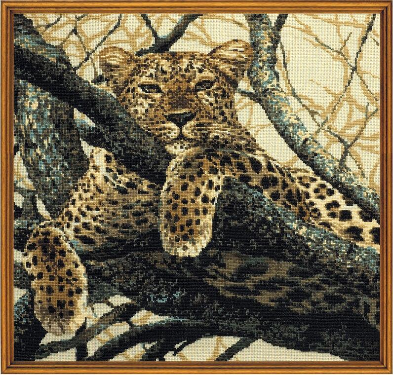 RIOLISクロスステッチ刺繍キット No.937 「The Leopard」 (豹 ヒョウ) ロシアの刺しゅうメーカー「リオリス」製ししゅうキット