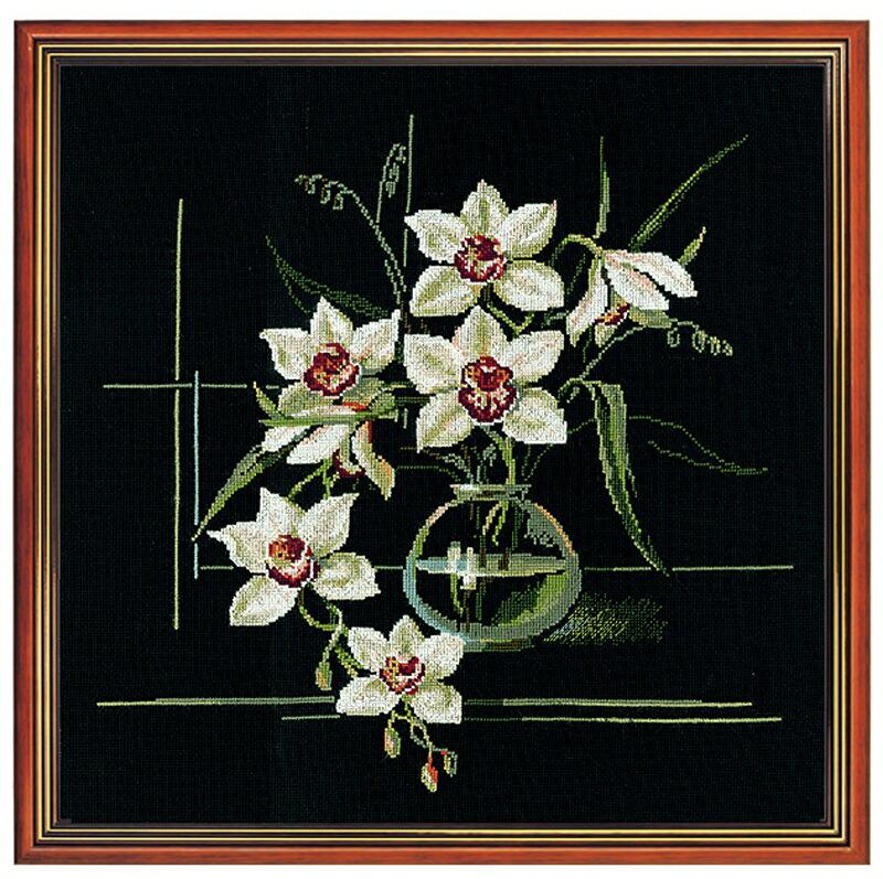 RIOLISクロスステッチ刺繍キット No.941 「The Orchids」(オーキッド) ロシアの刺しゅうメーカー「リオリス」製ししゅうキット