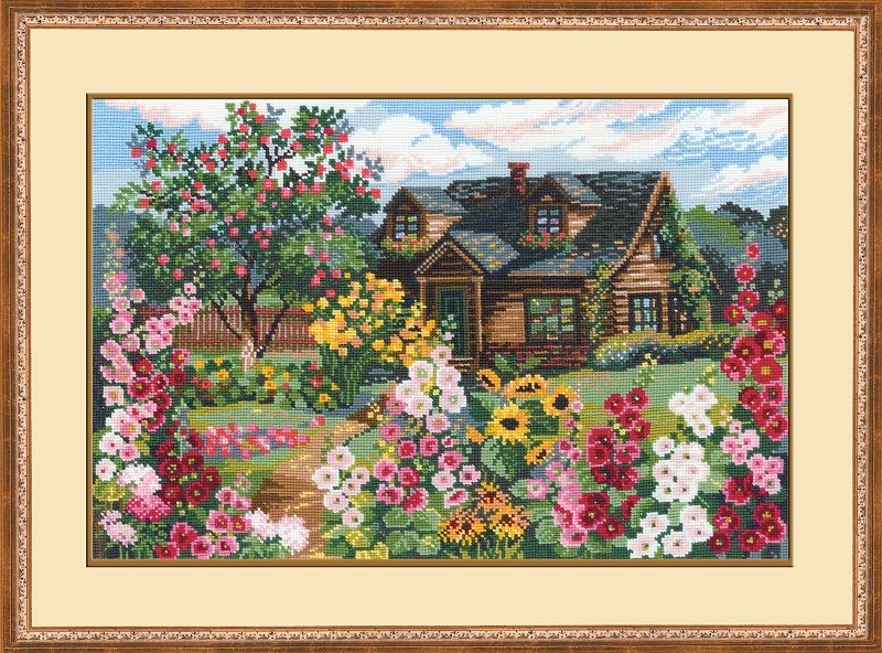 RIOLISクロスステッチ刺繍キット No.978 「The Flowering Garden」 (花いっぱいのお庭) ロシアの刺しゅうメーカー「リオリス」製ししゅうキット