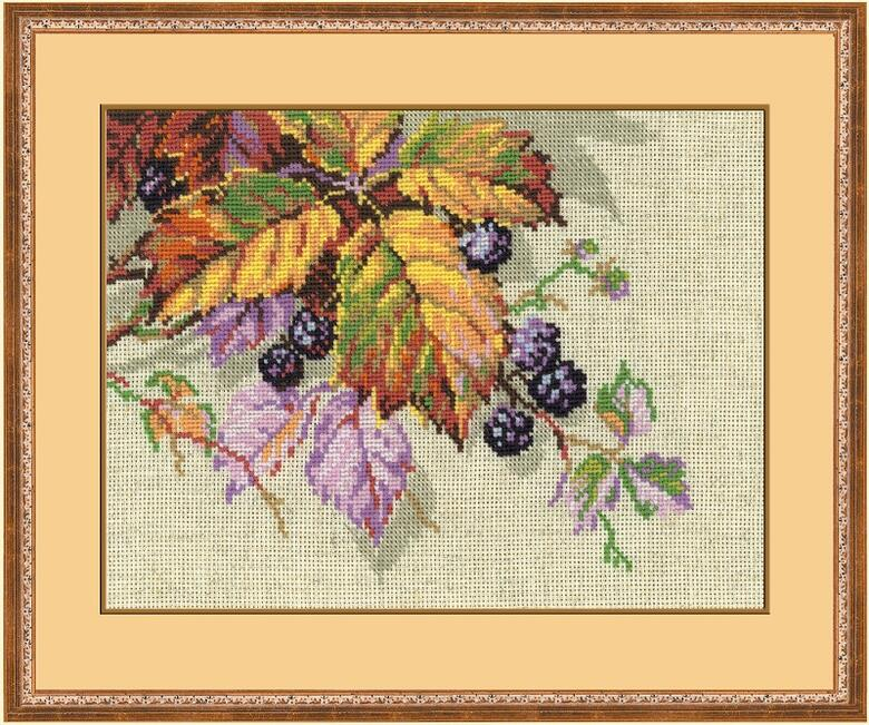 RIOLISクロスステッチ刺繍キット No.990 「The Blackberries」 (ブラックベリー) ロシアの刺しゅうメーカー「リオリス」製ししゅうキット