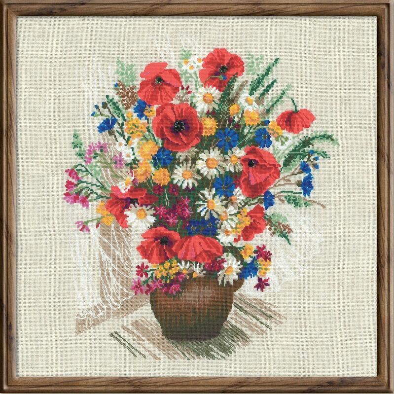 RIOLISクロスステッチ刺繍キット No.999 「The Bunch of Poppies」 (ポピーの花束) ロシアの刺しゅうメーカー「リオリス」製ししゅうキット