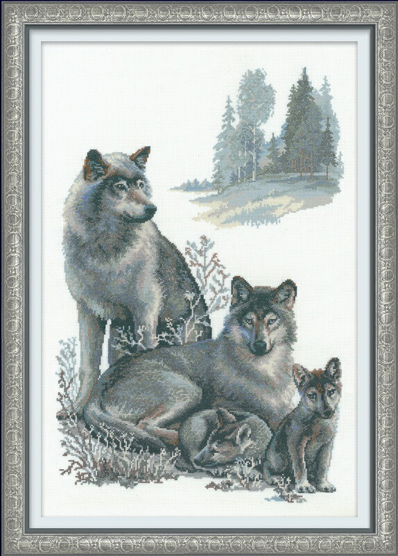 RIOLISクロスステッチ刺繍キット No.100/021 「The Wolves」 (狼 オオカミ) ロシアの刺しゅうメーカー「リオリス」製ししゅうキット