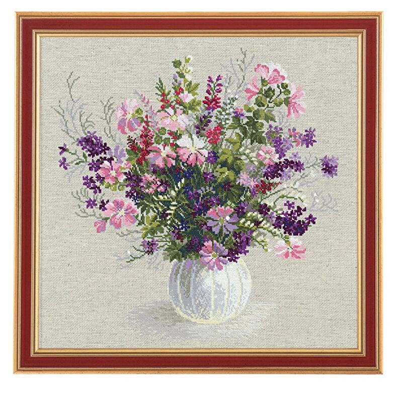 RIOLISクロスステッチ刺繍キット No.1010 「The Summer Bunch」 (夏の花束) ロシアの刺しゅうメーカー「リオリス」製ししゅうキット