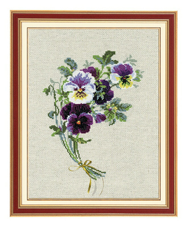 RIOLISクロスステッチ刺繍キット No.1020 「The Bunch of Pansies」 (パンジーの花束) ロシアの刺しゅうメーカー「リオリス」製ししゅうキット