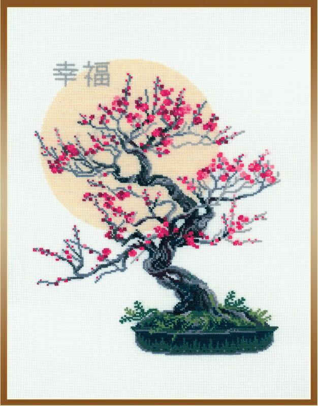 RIOLISクロスステッチ刺繍キット No.1036 「Bonsai Sakura Wish of Well Being」 (盆栽 桜 幸福) ロシアの刺しゅうメーカー「リオリス」製ししゅうキット