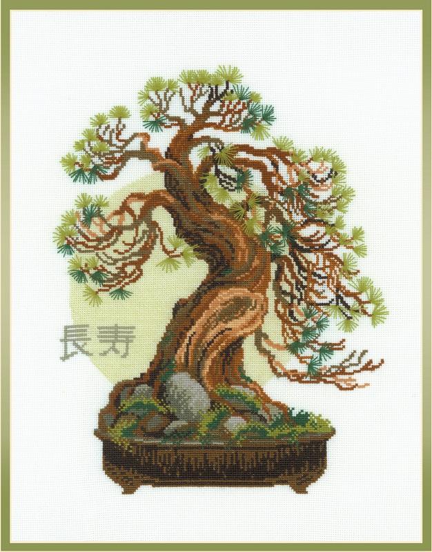 RIOLISクロスステッチ刺繍キット No.1037 「Bonsai Pine Wish of Longevity」 (盆栽 松 長寿) ロシアの刺しゅうメーカー「リオリス」製ししゅうキット