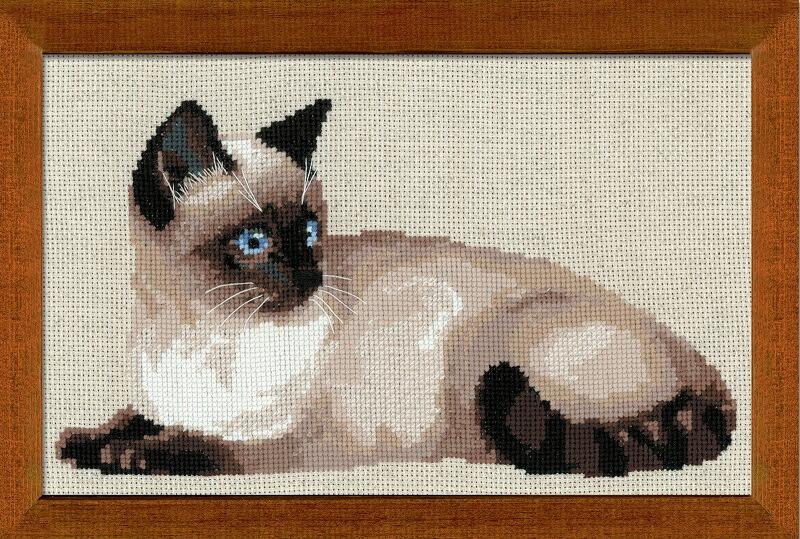 RIOLISクロスステッチ刺繍キット No.1066 「The Thai Cat」 (シャムネコ 猫) ロシアの刺しゅうメーカー「リオリス」製ししゅうキット