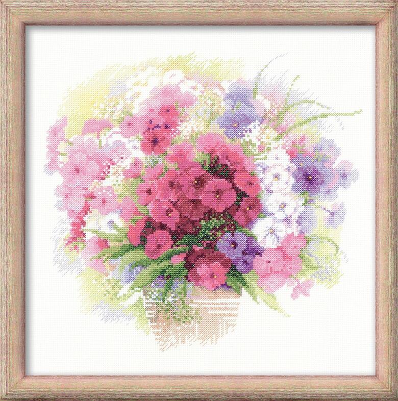 RIOLISクロスステッチ刺繍キット No.1069 「Watercolour Phloxes」 (フロックスの水彩画)