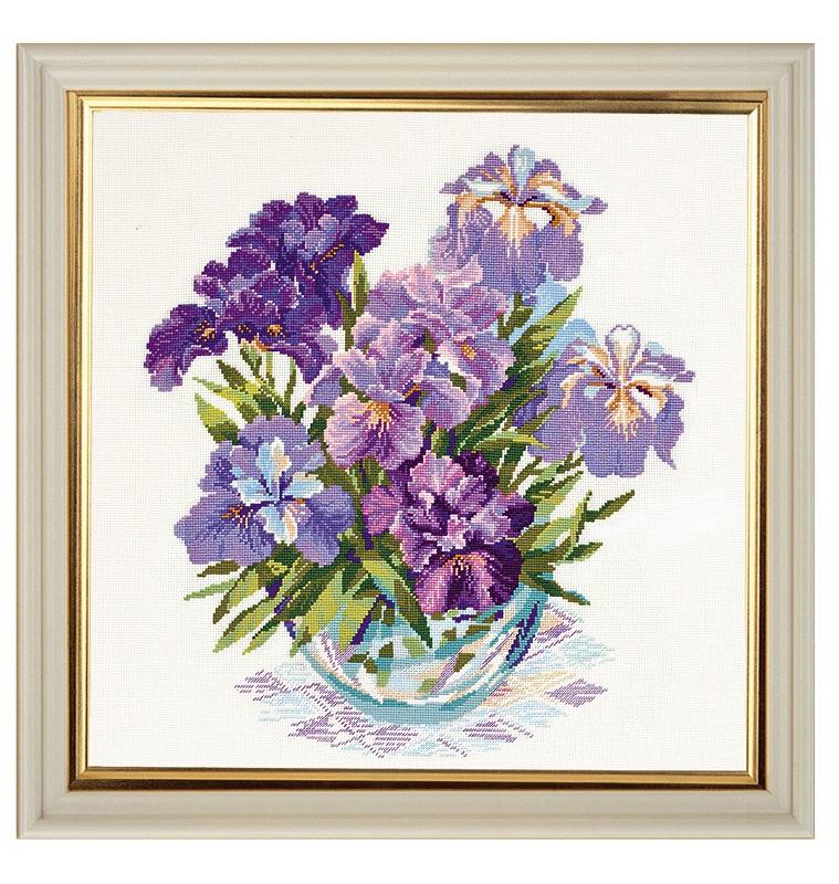 RIOLISクロスステッチ刺繍キット No.1071 「The Irises in Vase」 (花びんにいけられたアイリス) ロシアの刺しゅうメーカー「リオリス」製ししゅうキット