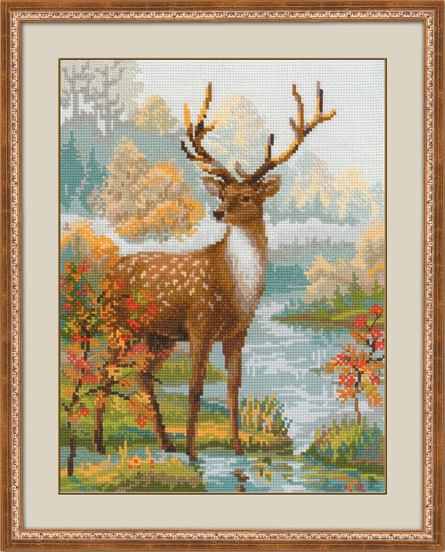 RIOLISクロスステッチ刺繍キット No.1077 「The Deer」 (鹿 シカ) ロシアの刺しゅうメーカー「リオリス」製ししゅうキット