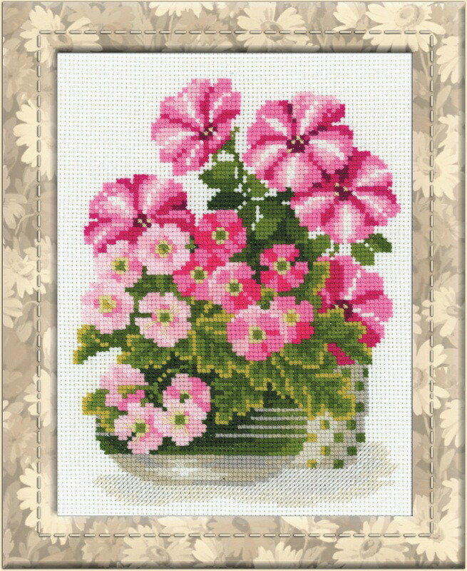 RIOLISクロスステッチ刺繍キット No.1115 「The Petunias & Primroses」 (ペチュニアとプリムローズ) ロシアの刺しゅうメーカー「リオリス」製ししゅうキット