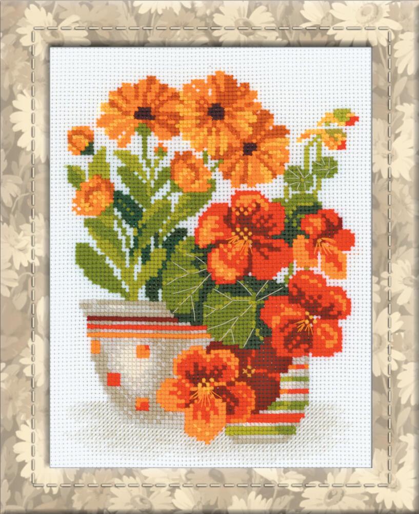 RIOLISクロスステッチ刺繍キット No.1116 「The Nasturtiums & Marigolds」 (ナスターチウムとマリーゴールド) ロシアの刺しゅうメーカー「リオリス」製ししゅうキット