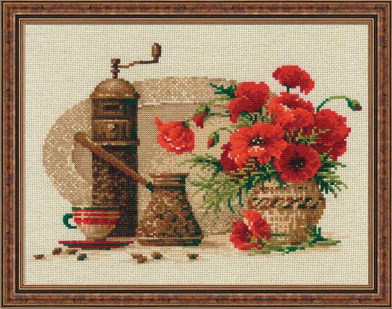 RIOLISクロスステッチ刺繍キット No.1121 「The Coffee」 (コーヒー 珈琲) ロシアの刺しゅうメーカー「リオリス」製ししゅうキット