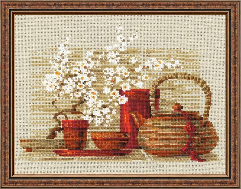 RIOLISクロスステッチ刺繍キット No.1122 「The Tea」 (お茶) ロシアの刺しゅうメーカー「リオリス」製ししゅうキット